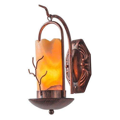 WY-YAN Forma vela lámpara de pared retro del dormitorio de noche la lámpara de pared de América Nostálgico Hierro forjado Mármol ligero de la pared del café tienda de antigüedades del pasillo del pasi