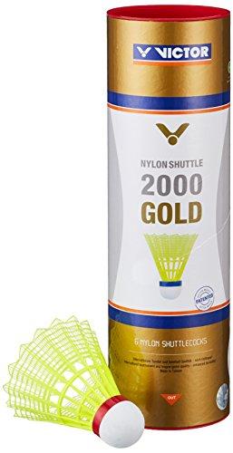 VICTOR Badminton Federball Nylon 2000 6er Dose, Gelb/Rot