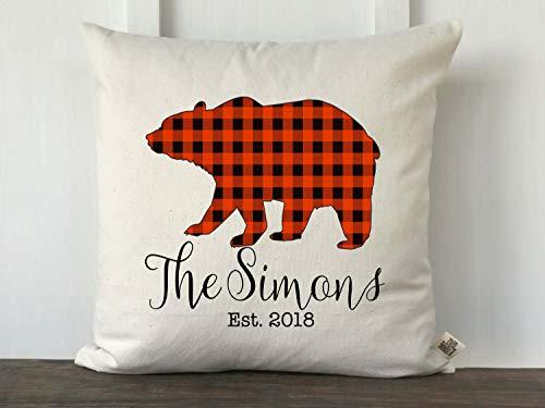Funda de almohada de Navidad con diseño de oso de búfalo, almohada de granja, almohada de camión vintage, decoración de Navidad de granja