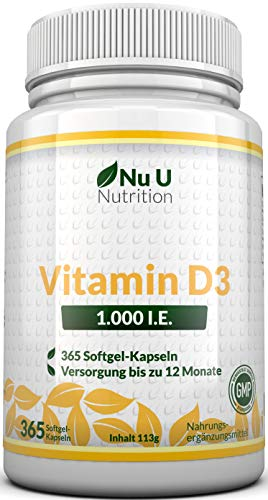 Vitamin D3 1.000 I.E.  hochdosiert | für Knochen, Zähne & Immunsystem | Jahresversorgung | 100{81e7879bd5015d82bd15f78a877a930ff6be2cf0dabb9616dfb235a1d3245c0b} Geld-zurück-Garantie | 365 Softgel-Kapseln | Nahrungsergänzungsmittel von Nu U Nutrition