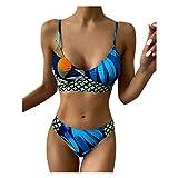 Kilwoe Mujer Conjuntos de Bikini Push-Up Profundo V-Sujetador Impresión Triángulo Bragas Azul...