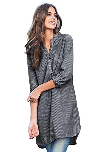 ellos Women's Plus Size Striped Henley Tunic - 1X, Black Stripe White