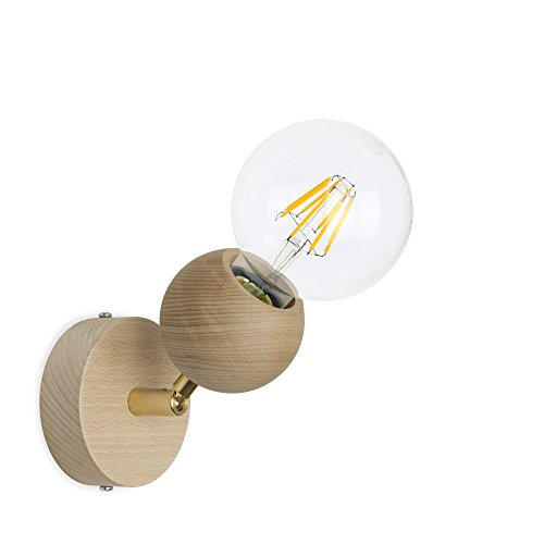 CD Cables-Puntoluce draaibaar, wandlamp O kamerplafond bal hout beuken