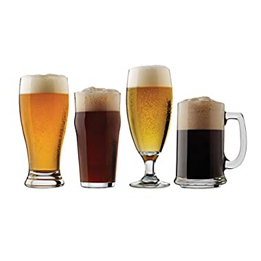 Libbey 4 Piece Craft Brews Assorted Beer Glasses Set, Clear