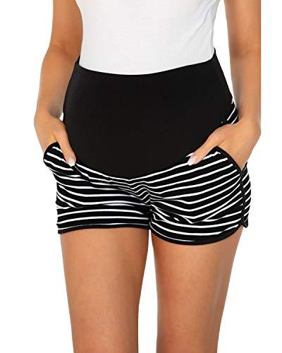 Love2Mi Umstandsshorts Damen Komfortable Kurze Umstandshose für Sommer, Schwarz-Weiß-Streifen, L