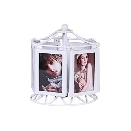 Caja de musica Marco multifuncional giratoria de la caja de música Noria marco de la foto caja de música 5 pulgadas de fotos caja de música Caja de música duradera ( Color : 5 inch white frame+rinse )