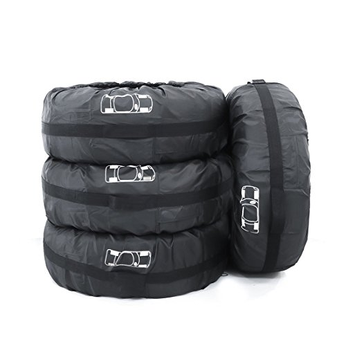 FLR 4 Pcs Tire Cover 80cm/31in Diameter Foldable Spare Waterproof Tire Covers Protection Covers Storage Tote Bags Wheel Cover for Car Off Road Truck
