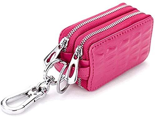 H&Co.select 高級 スマートキーケース 2つ 鍵が同時収納 牛 革 レザー ダブルポケットタイプ Wファスナー (ピンク)
