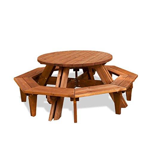 estrucmader – Table Picnic Ronde, de pin Couleur Cerisier