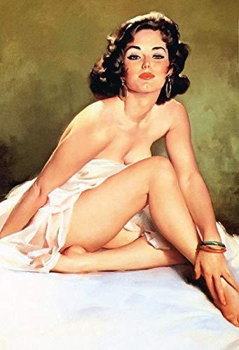 FS Cartel de chapa con diseño de chica pinup sexy (20 x 30 cm, con cordón)