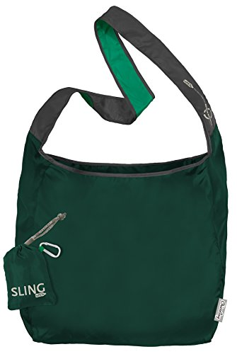 ChicoBag Sling rePETe Crossbody Hands-free, Large Open Top Messenger Style Shopping Bag with Pouch, Green Coral