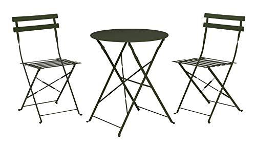 Meinposten. Balkonset, bistroset, tafel en 2 stoelen, balkontafel, metaal, inklapbaar, zitgarnituur, balkonmeubelen donkergroen