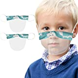 Luckylin 1/2/3/4/5pcs Kids Transparent Face Mouth_Shield with Clear Window, Foxs Print Reusable and Washable PVC Visual Cover Protection, Visible Expression