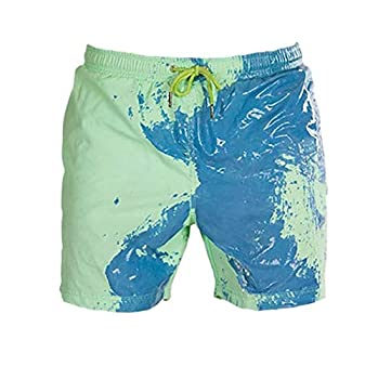 Child Sports Temperature Sensitive Color Changing Swim Trunks Boys Beach Board Shorts Bathing Suits  Green,S