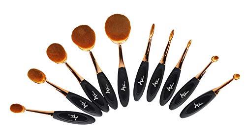 Lot de 10 pinceaux de maquillage ovales doux en forme de brosse à dents pour fond de teint, contour, poudre, blush, correcteur, eyeliner, estompeur