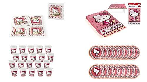 ALMACENESADAN 0469, Pack Fiesta y Cumpleaños Hello Kitty, 20 Vasos 200 ml, 16 Platos 19,5 cm, 20 servilletas y 1 Mantel 120x180 cm