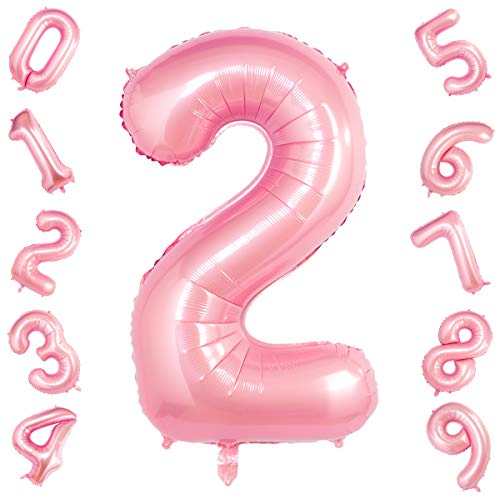 Tiffany Pink 2 Balloons,40 Inch Birthday Foil Balloon Party Decorations Supplies Helium Mylar Digital Balloons (Tiffany Pink Number 2)