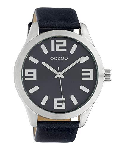 Oozoo Damenuhr mit Lederband Classic Color Line XL 47 MM Dunkelblau C10236