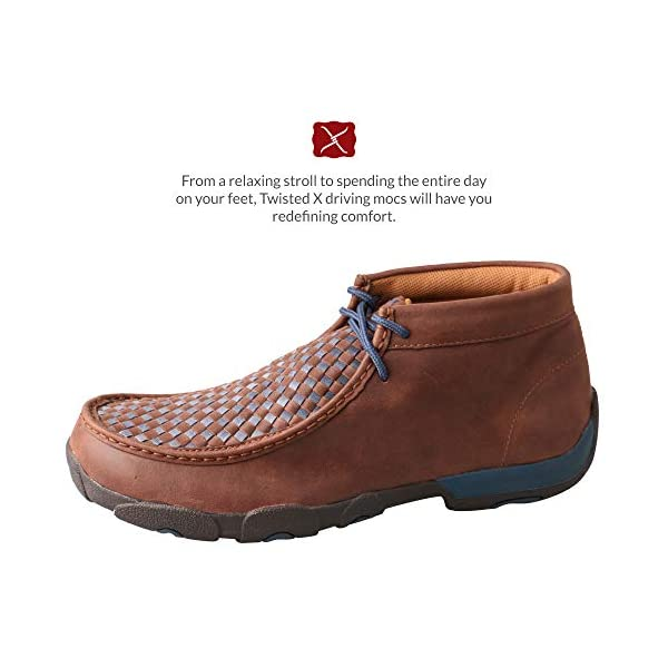 Twisted X Men's Blue Laced Leather Handcrafted Chukka Driving Moccasins, 11 W