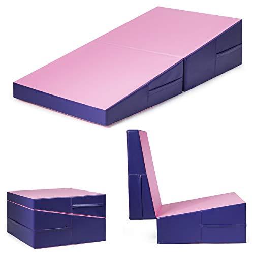 Giantex Incline Gymnastics Mat Wedge Folding and Non-Folding Gymnastics Gym Fitness Skill Shape Tumbling Mat for Kids Play Home Exercise Aerobics (Light Pink/Purple 60
