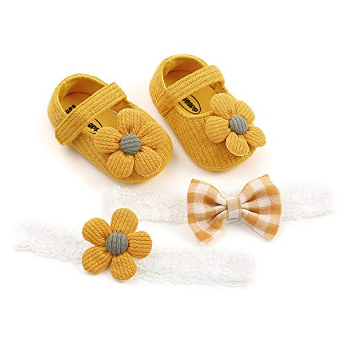 Carolilly Neugeborenes Mädchen Baby Schuhe Sommer weichen Boden Baumwolle Kinder Blume Prinzessin Schuhe Hochzeit Party Schuhe + Haarband 3pcs Set (gelb, 0_Month)