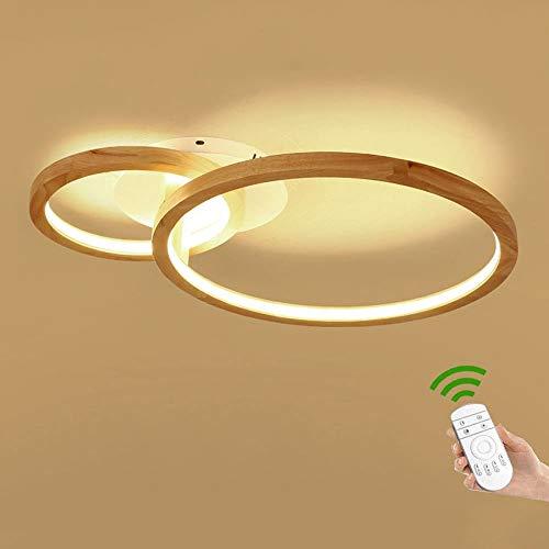 Holz 2-Ring LED-Deckenleuchte Modern Minimalismus Holz Stil Runde Deckenlampe Kreativ Wohnzimmer Schlafzimmer Esszimmer Leuchte Deckenbeleuchtung Acryl-Schirm Decke Licht Holzlampe [Energieklasse A++]