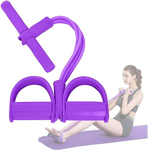 Pedal Resistance Band, 4-Tube Natural Latex Yoga Pedal Puller Resistance Band,Elastic Pull Rope Sit-up Band with Anti-Slip Handle, for Abdomen, Waist, Arm, Yoga Stretching Slimming Training (Purple)