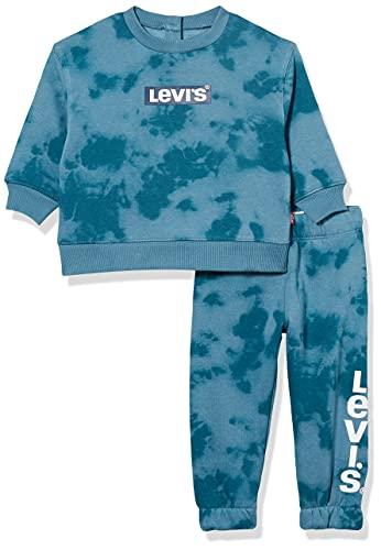 Levi's kids Lvb Knit Crew Jogger Set Pantaln Deportivo, Aegean Blue, 12 Meses Bebé-Niños