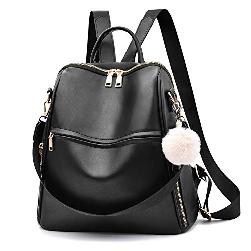 Women Backpack Purse Multifunctional Leather Shoulder Bag Fashion School Bag Cute Backpack for Girls,Black