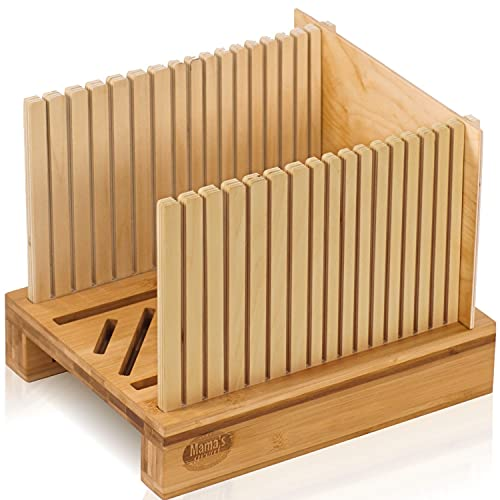 Bamboo Bread Slicer for Homemade Bread Loaf. Adjustable Width Bread Slicing Guides. Sturdy Wooden Bread Cutting Board. Compact & Foldable for Stowing. Makes Cutting Bagels or Even Bread Slices Easy.