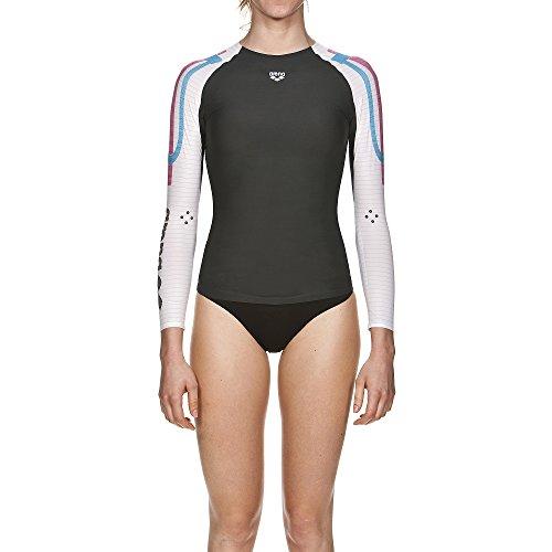 arena Damen Schwimm Kompressionsshirt Carbon Langarm (Atmungsaktiv, Carbon-Material, Durchblutungsfördernd), Dark Grey-White (53), XS - 3