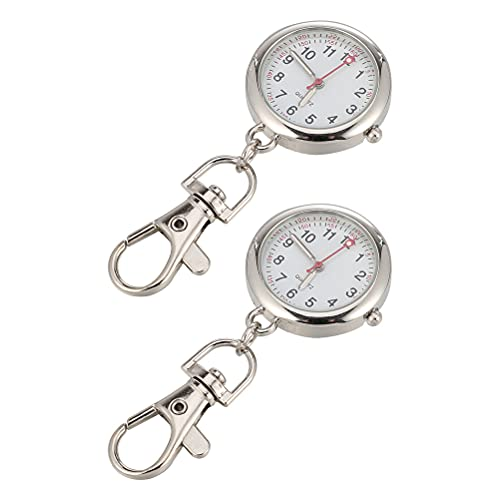 2Pcs Pocket Watch Keychain Nurse Elderly Key Chain Watch Pendant Portable Watch