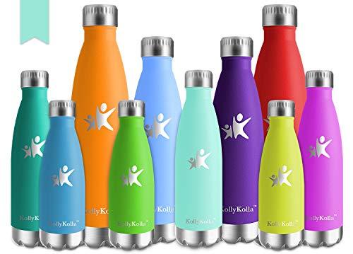 KollyKolla Vakuum Isolierte Edelstahl Trinkflasche, 500ml BPA Frei Wasserflasche Auslaufsicher, Thermosflasche für Sport, Outdoor, Fitness, Kinder, Schule, Kleinkinder, Kindergarten (Macaron Grün)