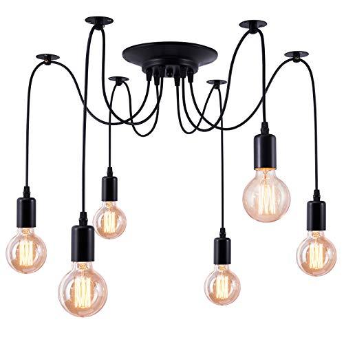 Makitesy Retro Lámpara de Techo Iluminación Colgante E27 Tipo de Base, Lámpara Clásica Techo Antigua con luz de Araña Ajustable Negro,DIY Industrial Lámpara Pendiente-Sin bombilla