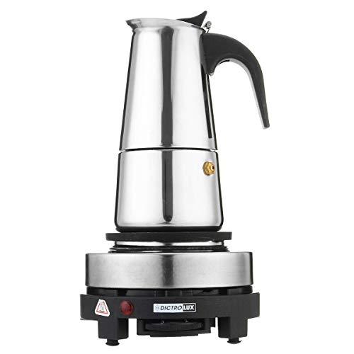 DJK 200 ml máquina de café Espresso portátil, Acero Inoxidable 4 Tazas con Horno eléctrico cafetera de Filtro para la Oficina en casa