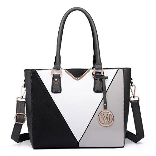 Miss Lulu Schultertasche/Handtasche in Lederoptik, v-förmiges Design, Grau - grau - Größe: Large