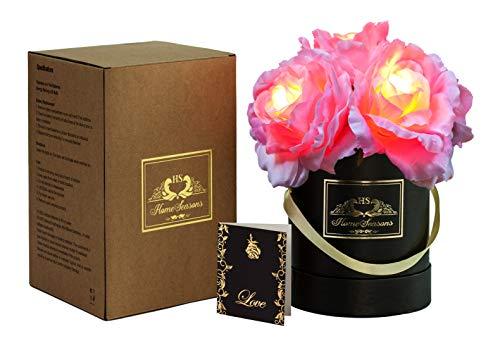 HOMESEASONS Pre-Lit LED Lighted Silk Rose Gift Box (Pink)