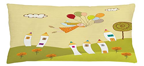 ABAKUHAUS Fantasy Throw Pillow Cushion Cover, Fairy Girl Floating over the City with Colorful Balloons Doodle Style Town on Hill, Decorative Square Accent Pillow Case, 36 X 16 Inches, Multicolor