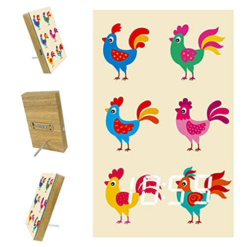 Despertador LED digital para dormitorios cocina oficina personalizado decoración del hogar pollo dibujos animados 6.2x3.7x0.9 pulgadas