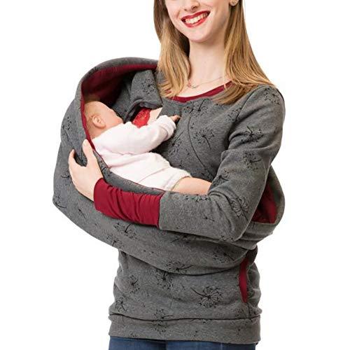 SHANGLY Damen Still-Sweatshirt Mutterschaft Lange Ärmel Pullover Rundhals Oberteile zum Stillen Mit Lätzchen,D,M