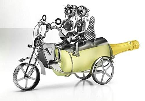 Deko Flaschenhalter aus Metall Motorrad. Ohne Deko.