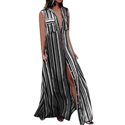 VEMOW Vestido Informal con botón Abotonado Casual sin Mangas de Las Mujeres Vestido Suelto de Fiesta Larga(Negro,2XL)