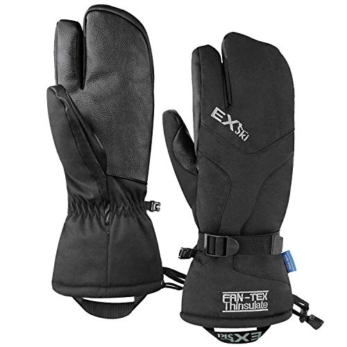 EXski Waterproof Winter 3-Finger Ski Gloves Warm Insulated Snow Mittens for Cold Weather Snowboard...