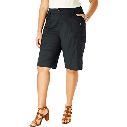 Roamans Women's Plus Size Cargo Shorts - 12 W, Black