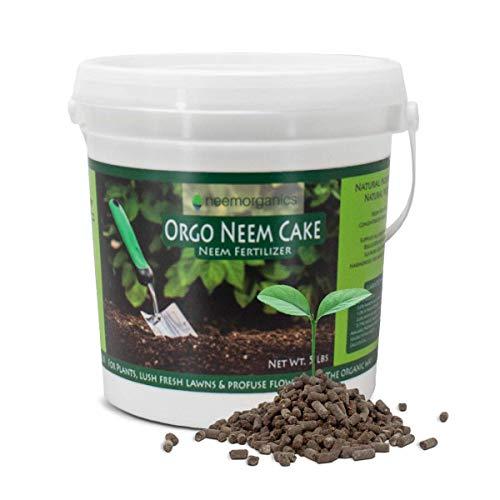 Neem Organics Orgo Neem Cake | Organic Fertilizer for Outdoor Plants, Lawn & Garden Growth | OMRI Listed for Organic Use (5 lbs)