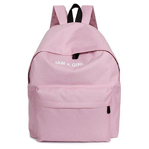 School Supplies Basic School Backpack Lightweight Classic Bookbag for Teens I AM A GIRL (Pink)