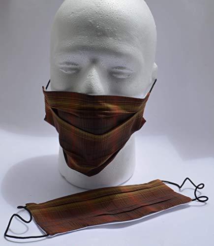 Stoffmaske mit 3 TNT Filter inclusiv, Nasenbügel, Brauntöne, Mund-Nasen-Bedeckung, Mundschutz