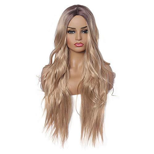 Scra AC Peluca de señora europea y de moda degradado teñido de oro marrón largo rizado peluca