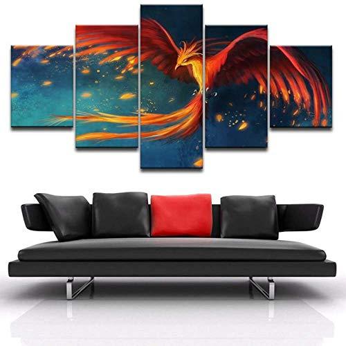 GHYTR Imagen sobre Lienzo Cuadros Abstractos Modernos XXL Poster 5 Piezas Fuego De Pájaro Místico De Fénix Arte De Pared Imágenes Modulares Sala De Estar Decoración para El Hogar 150X80Cm