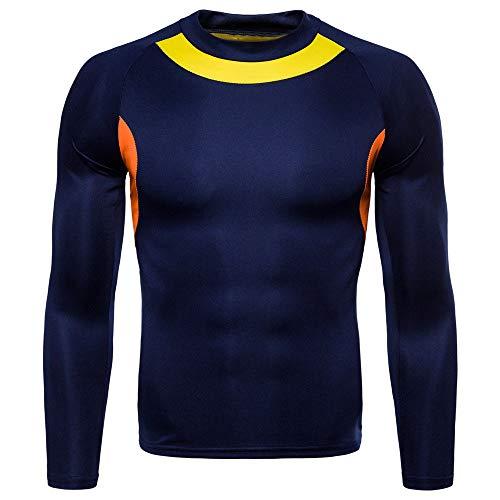 Coloré(TM) Homme Sportswear Vêtements de Fitness Séchage Rapide Respirant Compression T-Shirts de Sport Manches Courtes pour Fitness Cyclisme Jogging Musculation Basketball (M, Marine)